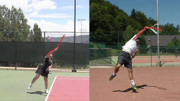 The pronation in a tennis serve