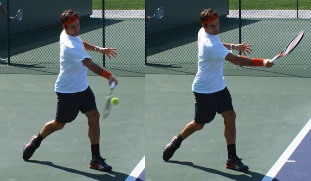 Tennis forehand arm extension