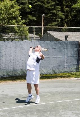 Serve of a club tennis player