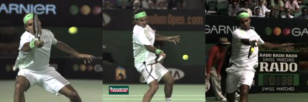 Roger Federer's forehand technique adapts