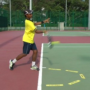 Ideal tennis forehand contact point