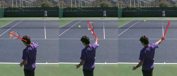 Roger Federer backhand high ball