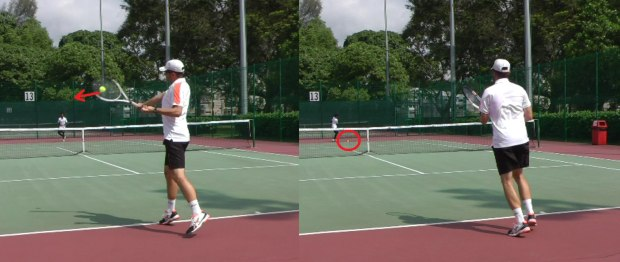 High ball to one-handed backhand