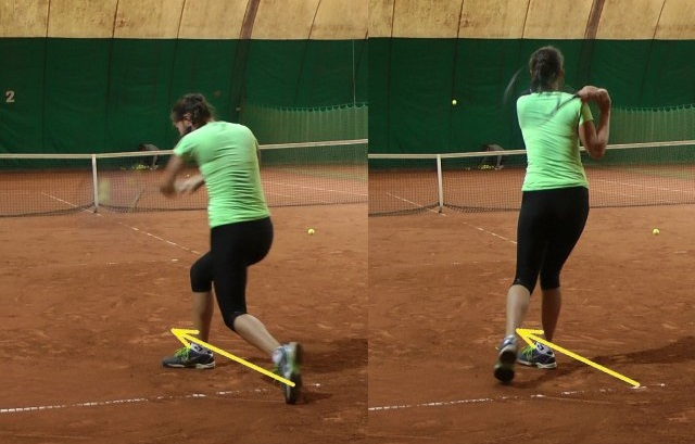 correct two-handed backhand stroke