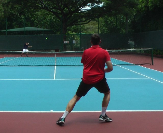 pushing off towards the ball