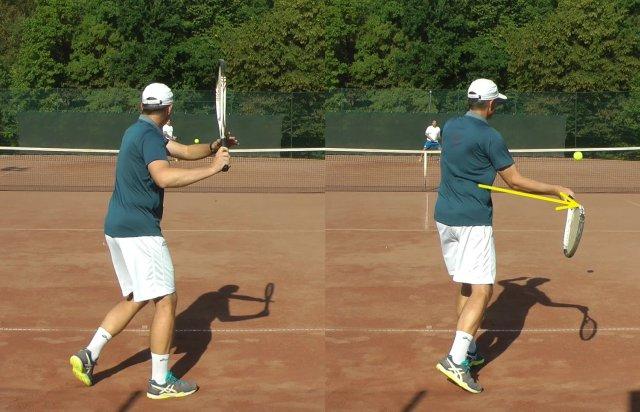 high ball forehand swing