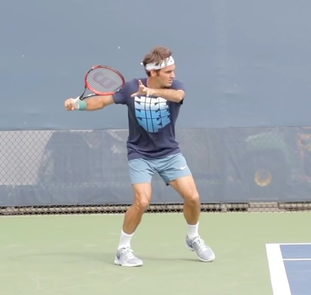 Federer extreme forehand power